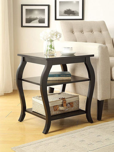 Wooden End Table with 2 Open Shelves and Cabriole Legs, Black
