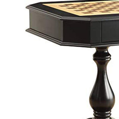 Wooden Chess Game TableWith One Drawer Black AMF-82846