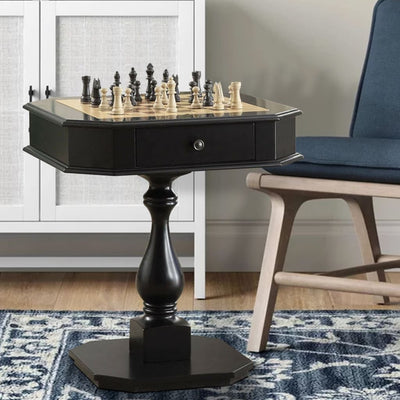 Wooden Chess Game TableWith One Drawer, Black
