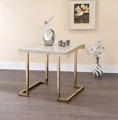 Marble Top End Table With Metal Base White And Gold AMF-82872