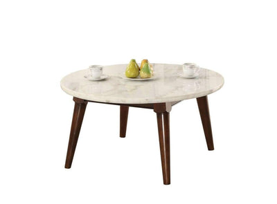Wood Base Coffee Table with Marble Top, Walnut Brown