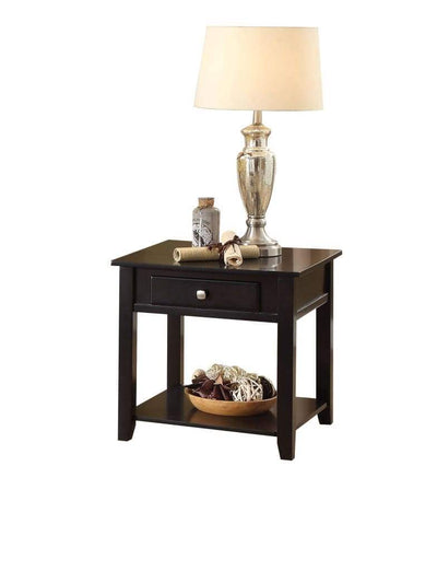 Wooden End Table with One Drawer and One Shelf Black AMF-82952
