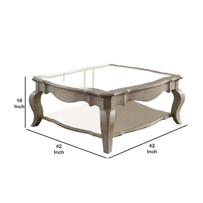 18 Glass Top Wooden Coffee Table Antique Taupe AMF-86050