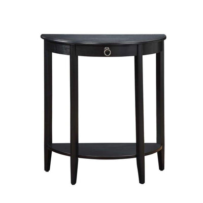 Wooden Half Moon Shaped Console Table with One Storage Drawer, Black