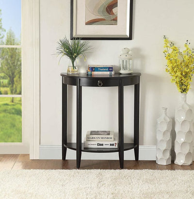 Wooden Half Moon Shaped Console Table with One Storage Drawer Black AMF-90163