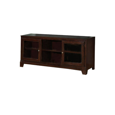 58 Wood TV Stand with 2 Glass Doors and 3 Shelves Brown By ACME AMF-91093