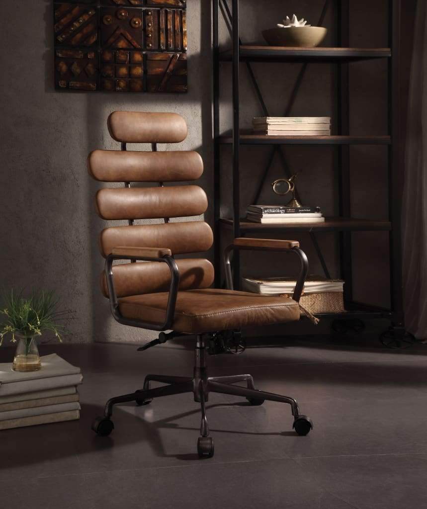 Calan Executive Metal Office Chair in Top Grain Leather, Brown