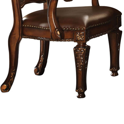 Leather Upholstered Arm Chair in Cherry Brown AMF-92126