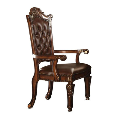 Leather Upholstered Arm Chair in Cherry Brown