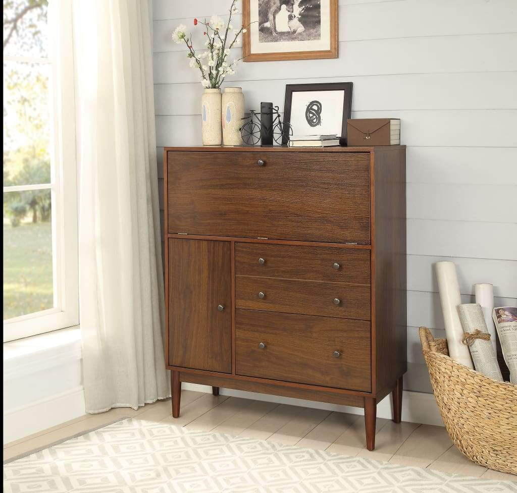 44 Inch 2 Drawer Office Armoire with Drop Down Door, Brown