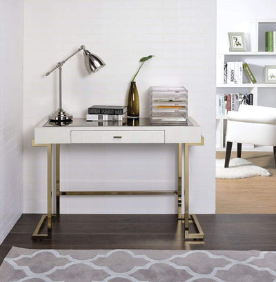Mirror Top Writing Desk, White & Gold By ACME