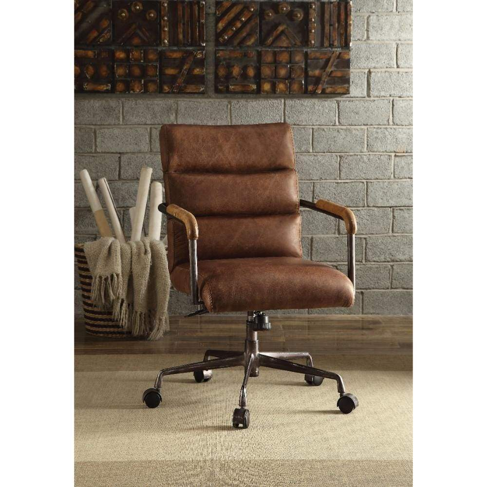 Buy Online Metal Leather Executive Office Chair Retro Brown Acme