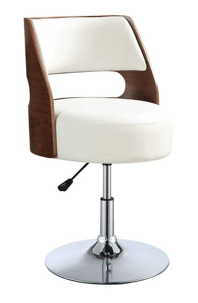 Modern Wood and Leatherette Adjustable Swivel Bar Stool with Metal Base, Brown and White