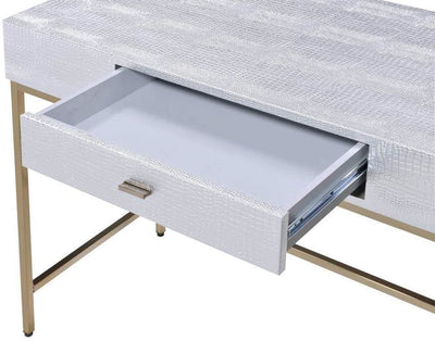 Leatherette Upholstered desk with Metal Base and Floor Protectors Silver and Gold By Casagear Home AMF-92425