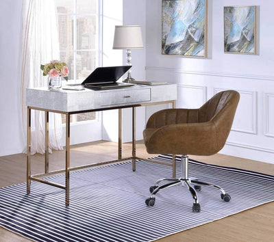 Leatherette Upholstered desk with Metal Base and Floor Protectors, Silver and Gold By Casagear Home