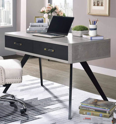 Faux Concrete Desk with Two Drawers and Flared Legs Black and Gray By Casagear Home AMF-92530
