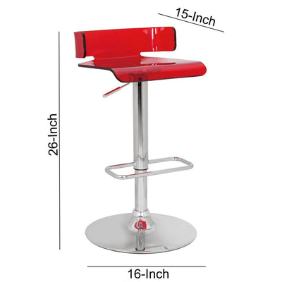 Acyrlic Adjustable and Swivel Barstool Red and Chrome AMF-96262