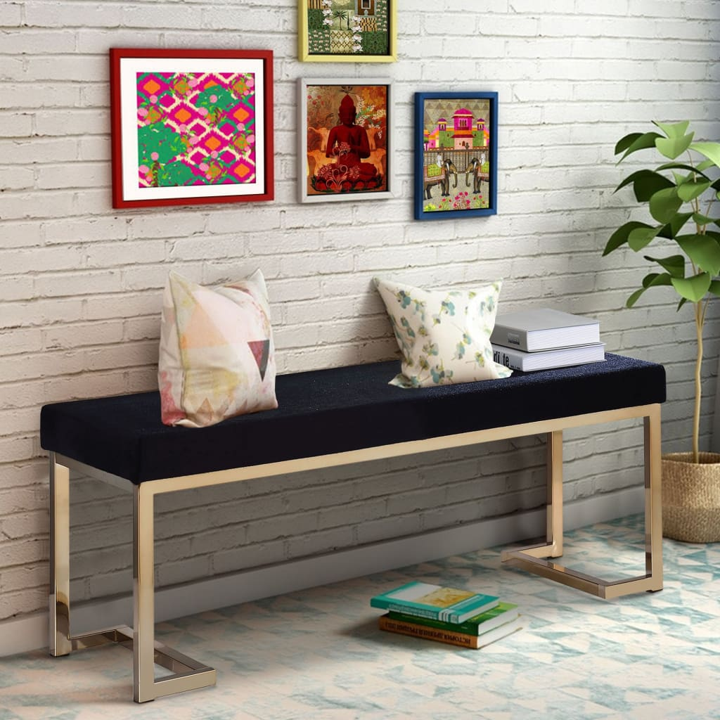 "40"" Modern Bench With Metal Base And Cushioned Seat, Black And Gold By Acme"