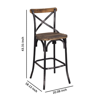 Zaire Bar Chair Walnut & Antique Black By ACME AMF-96640