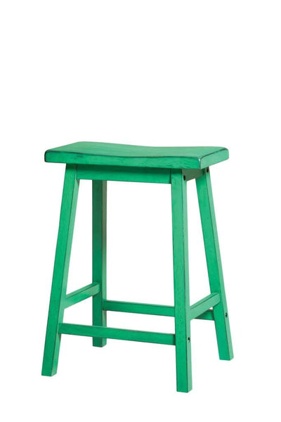Wooden Counter Height Stool (Set-2), Antique Green By ACME
