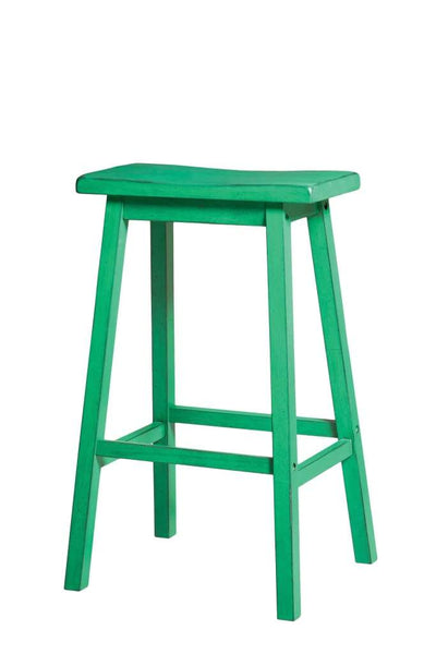 Wooden Bar Stool (Set-2), Antique Green By ACME
