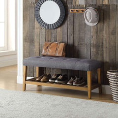 Wooden Bench, Gray & Oak By ACME