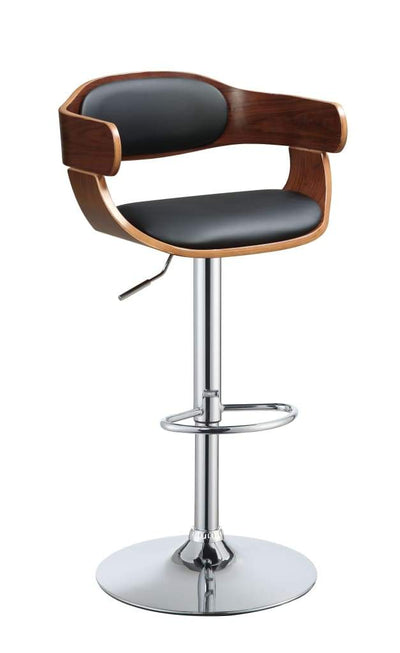 Wooden Adjustable Stool with Swivel, Black & Walnut Brown