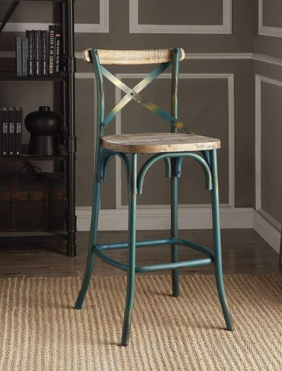 Metal Bar Height Chair with X Shaped Open Back, Distressed Blue and Brown