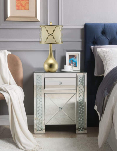 Wood & Mirror Nightstand with Crystal Inserts, Silver