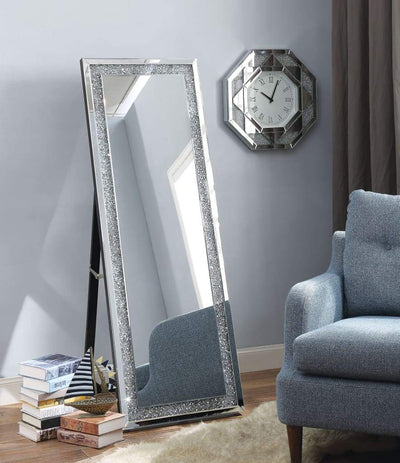 Faux Crystal Accented Wooden Framed Floor Mirror with Fold Out Back Leg Support, Clear - 97156