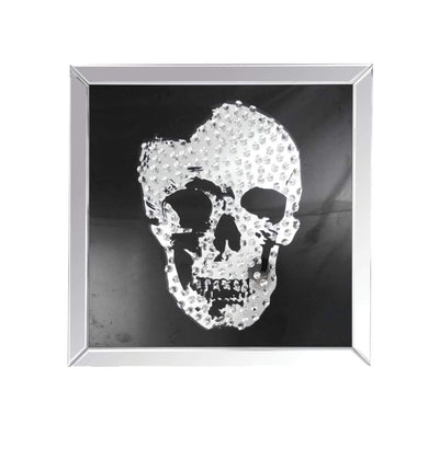 Square Shape Mirror framed Skull Wall Decor With Crystal Inlays, Black & Silver - AMF-97315