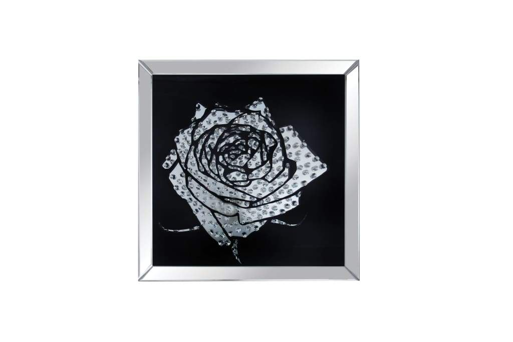 Square Shape Mirror framed Rose Wall D cor With Crystal Inlays, Black & Silver - ACME