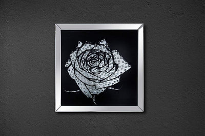 Square Shape Mirror framed Rose Wall Decor With Crystal Inlays, Black & Silver - ACME