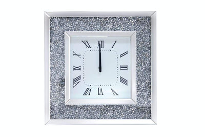 Faux Crystal Inlaid Mirrored Analog Wall Clock with Wooden Backing, Clear - 97395
