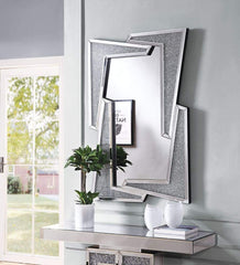 Mirrored Wooden Frame Accent Wall Decor with Four L Shaped Borders, Clear - 97571