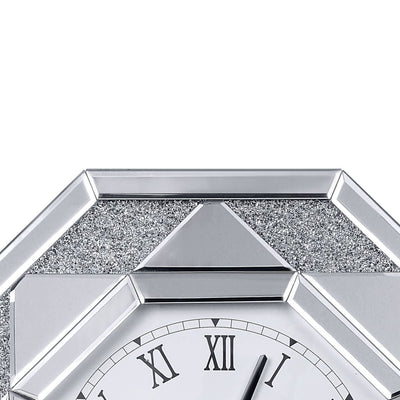 Octagonal Shaped Mirrored Frame Wall Clock with Faux Crystal Inlay Silver - 97613 AMF-97613