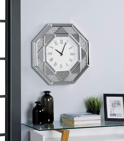 Octagonal Shaped Mirrored Frame Wall Clock with Faux Crystal Inlay, Silver - 97613