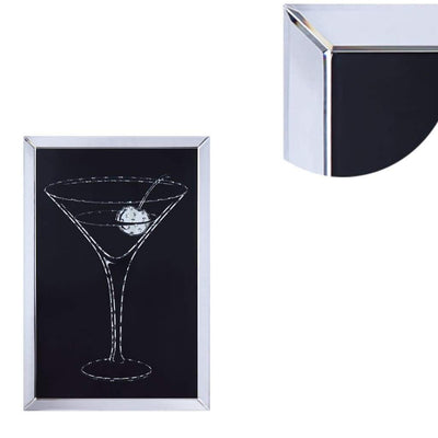 Wood and Mirror Martini Glass Wall Art Clear and Black - 97627 AMF-97627