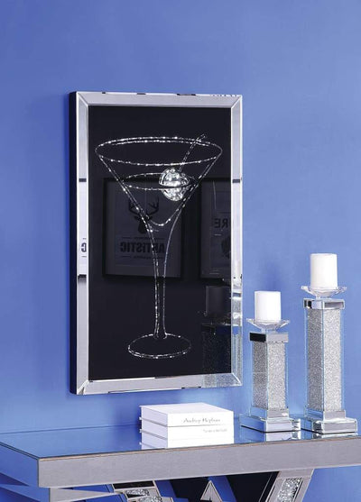 Wood and Mirror Martini Glass Wall Art, Clear and Black - 97627