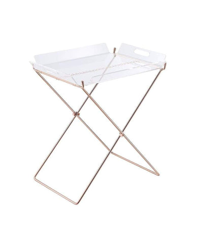 Modish Tray Table, Clear Acrylic & Copper
