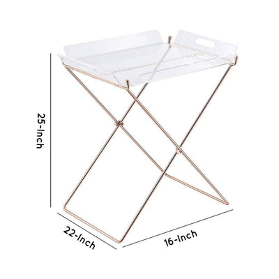 22 Acrylic Tray Table with X Metal Base Copper AMF-98189