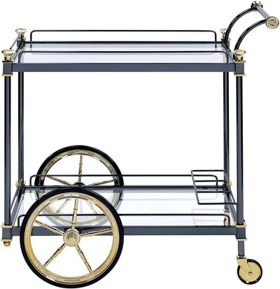 Metal Framed Serving Cart with Side Handle Black and Gold By ACME AMF-98370