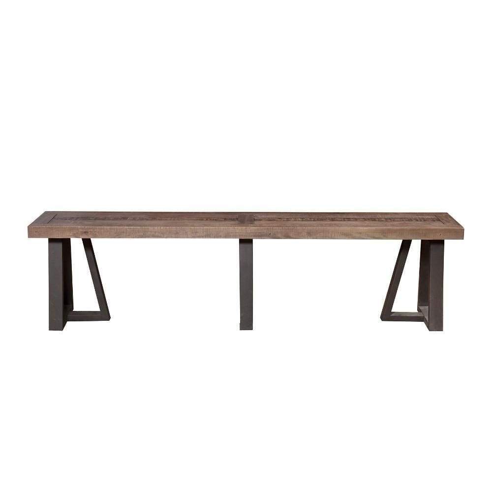 Wood And Metal Dining Bench Brown