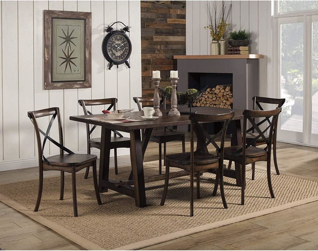 Convenient Metal Accented Side Chairs In Rubberwood Set Of 2 Brown