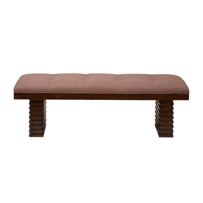 Wooden Dining Bench With Tufted Upholstery Brown