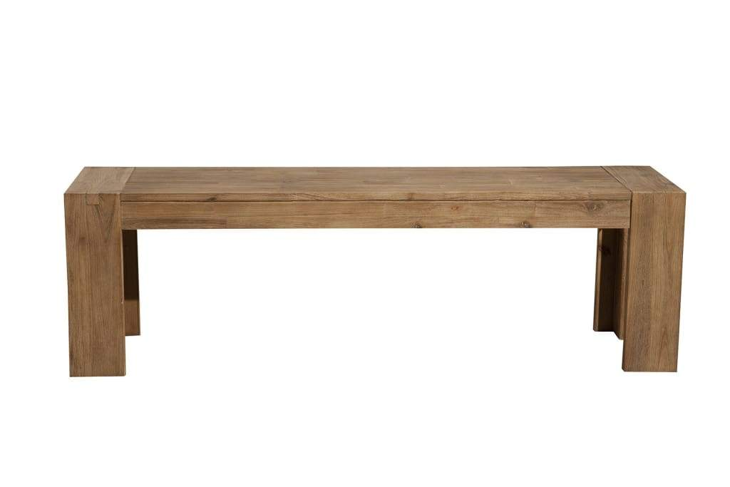 Solid Acacia Wood Bench with Bracket Legs, Brown