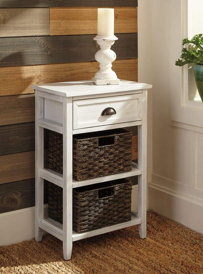 Cottage Style Wooden Accent Table with Two Woven Storage Baskets White and Brown AYF-A4000137