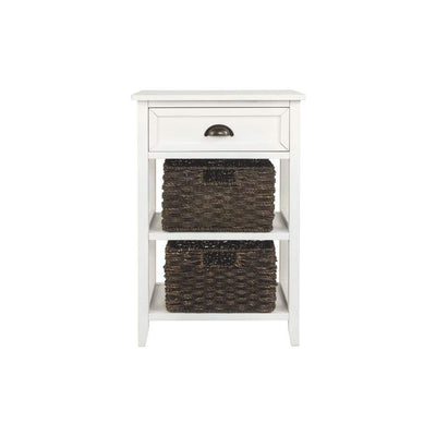 Cottage Style Wooden Accent Table with Two Woven Storage Baskets, White and Brown By Casagear Home