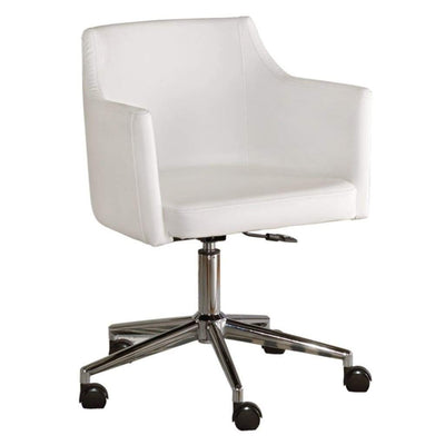 Faux Leather Upholster Metal Swivel Chair with Low Profile Back, White and Silver - H410-01A By Casagear Home