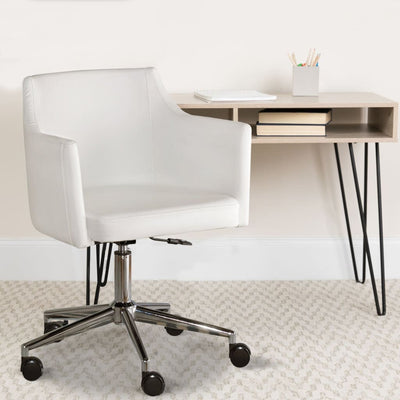 Office Swivel Chair with Low Profile Back White and Silver By Casagear Home AYF-H410-01A